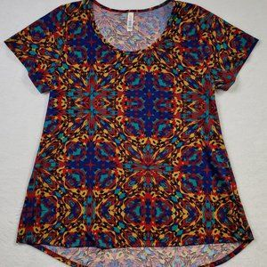 Lula Roe Scoop Neck Geometric Print Shirt sz Large